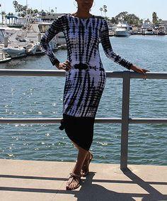 Another great find on #zulily! Black & White Tie-Dye Vicki Maxi Dress #zulilyfinds