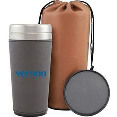This gift set features a 16 oz. coffee tumbler with coaster, packed in a brown leatherette carrying bag.