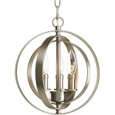 """Buy the Progress Lighting P5142-126 Burnished Silver Direct. Shop for the Progress Lighting P5142-126 Burnished Silver Equinox 3 Light 10"""" Wide Mini Chandelier with Movable Rings and save."""