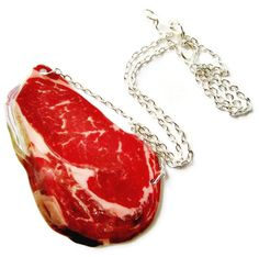 Steak Necklace Red Meat BBQ Food Jewelry Raw Meat Gag Gift Red Halloween Costume Vegan Statement on Etsy, $26.00
