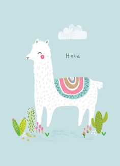 Aless Baylis for Petite Louise, Hola Llama Print Illustration & Patterns Alpacas, Llama Print, Llama Llama, Stoff Design, Art Watercolor, A4 Poster, Children's Book Illustration, Unicorn Illustration, Grafik Design