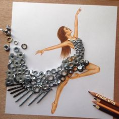 Creative Art / Funny Art ideas : Edgar Artis is an Armenian illustrator who uses a fascinating mix of paper cut outs and pencil drawings using everyday objects. This artist has a wonderful and Fashion Design Drawings, Fashion Sketches, Fashion Illustrations, Funny Drawings, Art Drawings, Kleidung Design, Arte Fashion, Paper Fashion, Dress Fashion