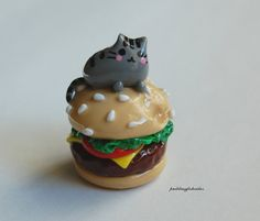 Pusheen Cat On a  Hamburger Polymer Clay by Puddingfishcakes, $12.00