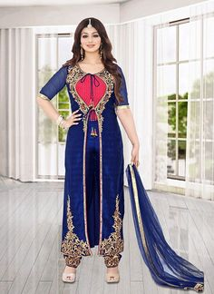 Achkan Style Incredible Salwar Kameez in Blue & Bhagalpuri Silk Fabric