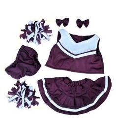 "Maroon and White Cheerleader Teddy Bear Clothes Outfit Fits Most 14"" - 18"" Build-a-bear, Vermont Teddy Bears, and Make Your Own Stuffed Animals"