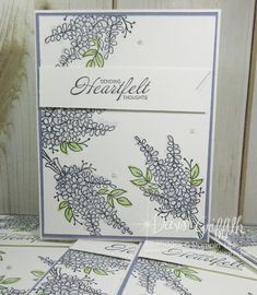 Hi Stampers, Here  is the project we made yesterday in The Glitter Pit. We used the Lots of Lavender stamp set  #147194 and the Heartfelt Blooms stamp set (w)#147197 (c)# 147202    both are Sale-a-Bration items . I made these cards for my Stampers club hostess Penny Saturday night.  The card is so simple but really …