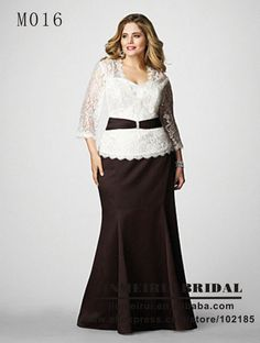 109   White And Brown Long Sleeve Mother Of The Bride Lace Dresses Plus Size With Sashes