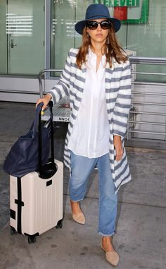 Jessica Alba from The Big Picture: Today's Hot Pics The actress looks Fourth of July ready in a nautical ensemble as she travels from Toronto, Canada and heads back to the states.