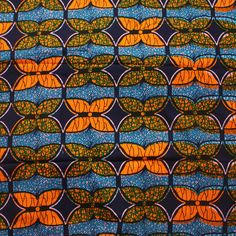 Orange and Blue African Print Fabric Tangerine and by Urbanstax