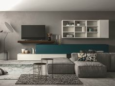 Sectional storage wall SLIM 109 by Dall'Agnese design Imago Design, Massimo Rosa Small Living Rooms, Living Spaces, Living Room Wall Designs, Modern Tv Units, Bookshelves In Living Room, Wall Cupboards, Contemporary Furniture, Family Room, Furniture Design