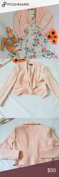 NWT Bebe Blazer New with tag. Retail Price $139.00. Size 2, will also fit 4. Color: Blush. Bundle discount 20% for 3 items. Also for sale Forever 21 Platform Pumps. Same day shipping. All offers welcome. bebe Jackets & Coats Blazers