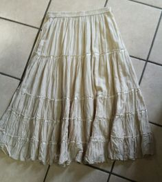 Size Medium Tan Gypsy Boho Peasant Skirt White Stag #whitestag #PeasantBoho