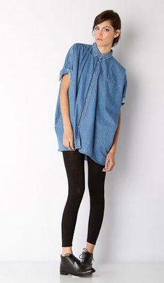 Image result for oversized jean shirt