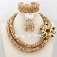 Granos Cristalinos hechos a mano Collar de Las Mujeres Nigerianas Joyería de La Boda Para Las Novias de Oro Africano de La Joyería de Nueva 2016 Envío Gratis ABY148
