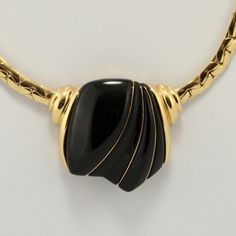 Crown Trifari Black Gold Choker Necklace Vtg.