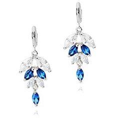 Sapphire Blue Crystal Drop Dangle Earrings Platinum Finish: Amazon.co.uk: Jewellery