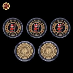 Wr Collectible Casino Coin Don't Play with The Devil Poker Card Guard New 24k Gold Plated Souvenir Coin /w Free Case 5pcs 40x3mm