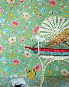 Luna | Papier peint fleurs | Autres papiers peints | Papier peint des années 70