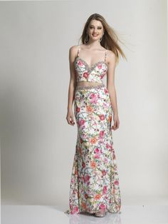 Dave and Johnny 2663 Stretch Lace 2pc Floral Print Gown