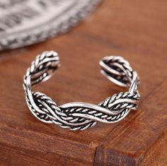 925 Sterling Silber Hand Woven Braid Öffnungs Ring