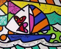 romero britto para colorear - Buscar con Google Rock Painting Designs, Painting Patterns, Art Pop, Stone Painting, Painting & Drawing, Pinturas Bob Ross, Bob Ross Paintings, Boat Art, Arts Ed
