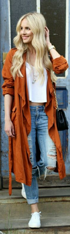 Zara Burnt Orange Trench Coat / Fashion by Feel Wunderbar Fall Outfits, Casual Outfits, Cute Outfits, Fashion Outfits, Orange Outfits, Orange Clothes, Trench Coat Outfit, Trench Coat Style, Garage Clothing