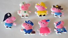 Pink Peppa Pig in Costumes 7pc Shoe Charms Cake Toppers Birthday Party Pack, Locker Magnets, Back Pack Zipper Pulls Nurse Firefighter by GroovyDeals on Etsy