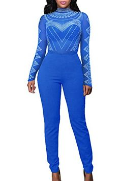 ea733483295f Womens Print Long Sleeve High Waist Long Pant Bodycon Club Jumpsuit Romper  S Blue -- Click image to review more details. (This is an affiliate link)    ...