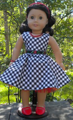 Check Dress for American Girl or other 18 dolls by mydollyscloset1