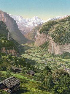 Lauterbrunnen Valley and Briethorn, from Wengen, Bernese Oberland, Switzerland