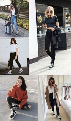 58 best old school style images in 2019 closets, feminine fa Vans Old Skool Outfit, Black Vans Outfit, Office Outfits Women, Outfits For Teens, Cute Outfits, School Fashion, Teen Fashion, Womens Fashion, Estilo Vans