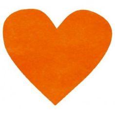 Confettis Coeur Orange Tissu Non Tissé 4 cm Les 100