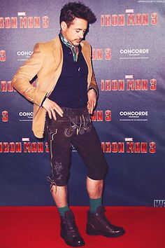 Robert Downey Jr doesn't leave home without his lederhosen.