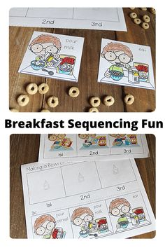 Kids can practice ordering events with these breakfast sequencing activities. This set includes two activities and a control sheet. It's perfect for preschoolers! #sequencingactivities #sequencingcards #orderofevents #homeschoolprek Preschool Family, Preschool Books, Free Preschool, Preschool Printables, Preschool Lessons, Sequencing Pictures, Sequencing Cards, Sequencing Activities, Hands On Activities