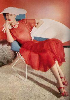 Traina Norell Coral red silk chiffon dress. 1953, Horst Photographer