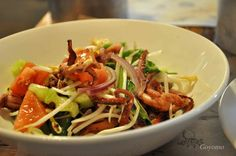 Salad with Thai source in Boston seafood in Moscow Russia