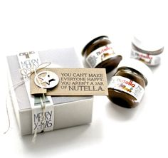 Mini Nutella Verpackung Mini Nutella Glas, Nutella Gifts, Happy A, Flyer, Treat Bags, Goodies, Gifts For Her, Wraps, Merry