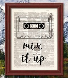 BUY 2 GET 1 FREE Mix it Up Dictionary Art Print Quote Cassette