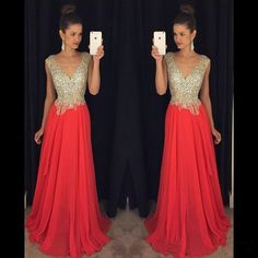 V-neck Beading A-line Low Back Chiffion Long Evening Dress,cheap prom dress on Storenvy