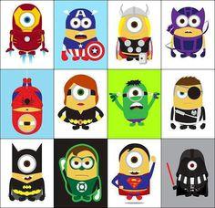Minion superheros! Amor Minions, 3 Minions, Minion Stuff, Minion Nails, Minion Jokes, Funny Minion, Galaxy Facts, Marvel E Dc, Minion Avengers