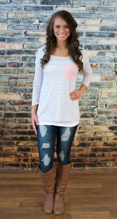 The Pink Lily Boutique - Take It All Grey Blouse , $34.00…