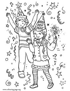 new year's coloring pages | New Year - Kids celebrating New Year coloring page