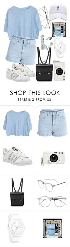 """""""Date with Mino"""" by inspired-outfix ❤ liked on Polyvore featuring Pieces, adidas, Lomography, The Cambridge Satchel Company, Wildfox and Nixon"""
