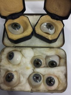 Ironic...German glass eyes made for a WW2 soldier after he lost his left eye due to being shot by a German! BourneEndAuctionRooms