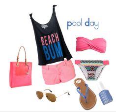 Pool Day!  cute bandeau bikini/tory flip flips/essie nail polish/ ray ban sunglasses/ michael kors beach tote/ light pink shorts/ beach bum tank! (: