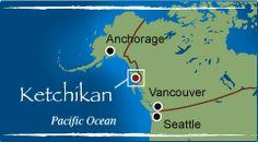 Ketchikan, Alaska is located roughly halfway between Seattle, WA and Anchorage, Alaska