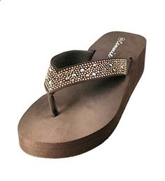 171568b50e1d Women s Mid Height Wedge Platform Flip Flops Thong  Sandals Slippers (8