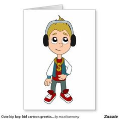 Cute hip hop  kid cartoon greeting card