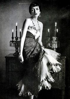 Maxime de la Falaise (Comtesse Alain de la Falaise) in exotic cotton evening dress by Schiaparelli, photo by Gordon Parks, 1949