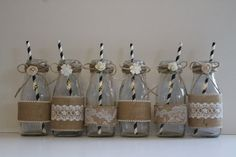 Hey, I found this really awesome Etsy listing at https://www.etsy.com/listing/205535670/burlap-decorated-milk-bottles-wedding